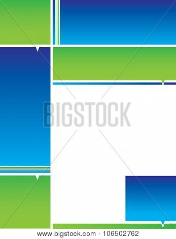 Blue Green Square Border Letterhead