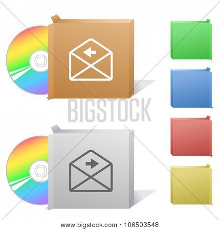 mail left arrow. Box with compact disc.  Raster illustration.