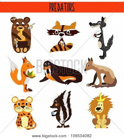 Cartoon Set of Cute Animals predators living in different parts of the world forests, seas and tropi