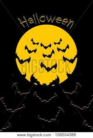 Halloween. Bats And Moon. Bunch Of Scary Animals Flies From Yellow Planet. Terrible Night Sky