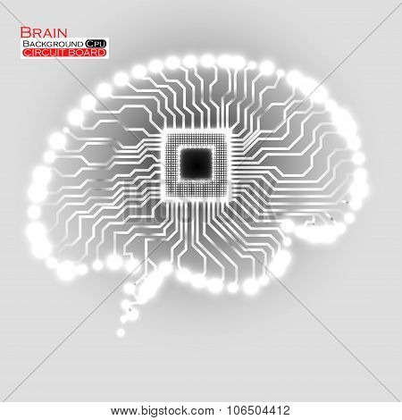 Neon brain. Cpu. Circuit board. Vector illustration. Eps 10