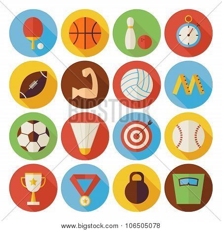 Flat Sport Recreation And Competition Circle Icons Set With Long Shadow