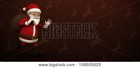 Cartoon Santa running with sack against maroon reindeer pattern