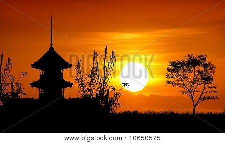 Asian architecture silhouette