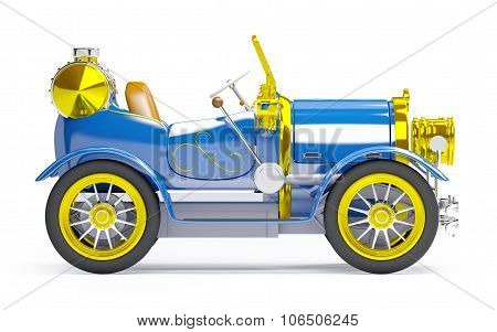 1910 blue retro car side view