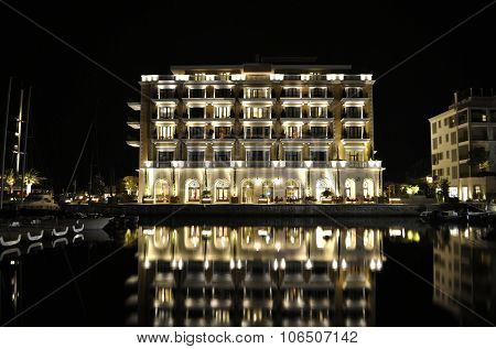 Luxury building of hotel with reflection, Montenegro.
