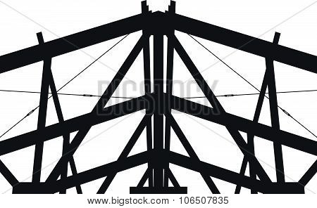 Fragment metal framework on a white background. Vector silhouette.