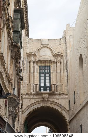 View On Old Buldings With Balcony In Capital Of Malta - Valletta, Europe