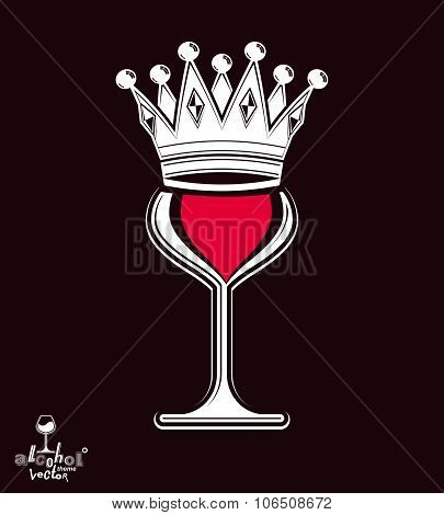 Sophisticated Luxury Wineglass With King Crown, Graphic Artistic Vector Goblet Isolated On Dark Back