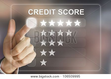 Business Hand Pushing Credit Score On Virtual Screen
