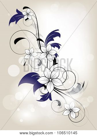 Floral spring background with swirls and flowers