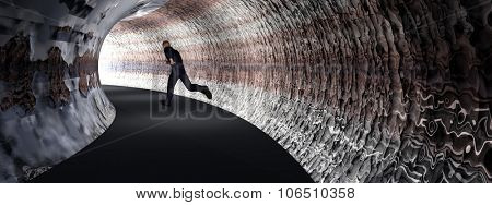 Concept or conceptual 3D business man, dark road tunnel with bright light at the end background banner