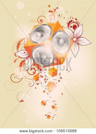 Vector music background with floral elements and subwoofer