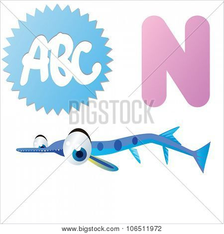 Cute vector isolated animals Alphabet: N is for Needlefish