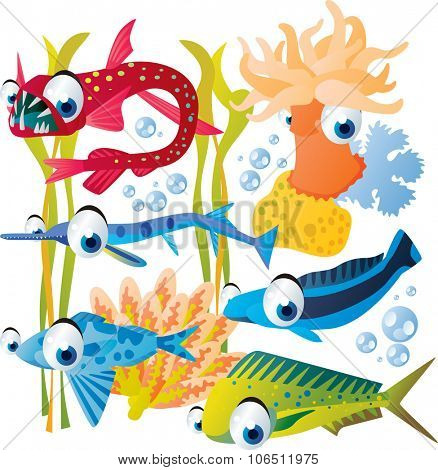Vector cute funny colorful fish set: anemone, viper fish, needle fish, plant, tile fish, drift fish, coryphaena
