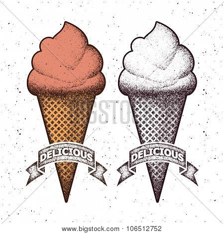 Ice cream vector set. Distressed style.