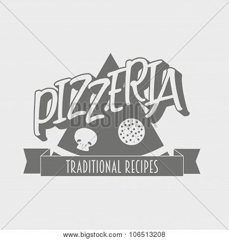 Vintage Pizzeria Label, Badge Or Design Element.