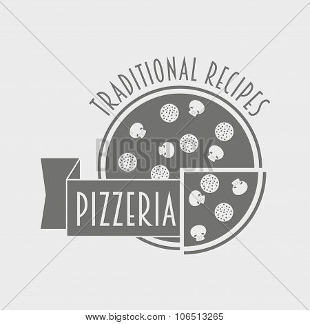 Black And White Pizzeria Label Or Logo Concept For The Italian Restaurant And Cafe. Can Be Used To D