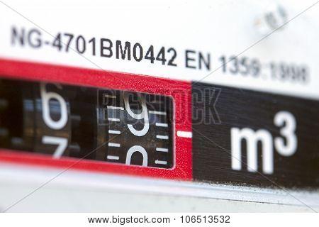 Macro Shot Of Gas Meter Numbers