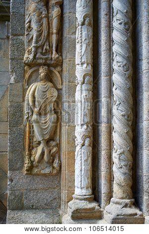 Santiago de Compostela Cathedral columns end of Saint James Way in Galicia Spain