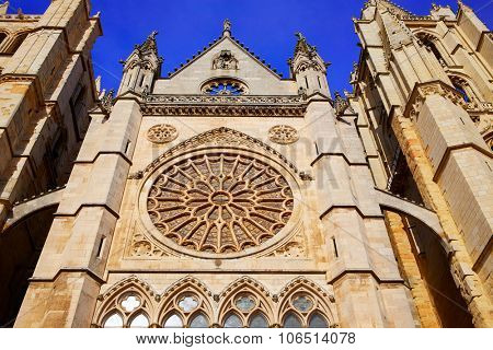 Cathedral of Leon gothic Rosette in Castilla at Spain