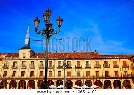 Leon Plaza Mayor in Way of Saint James at Castilla Spain