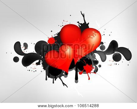 Grunge abstract background with heart. Abstract vector illustration with background.