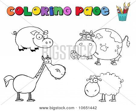 Coloring Page Farm Animals