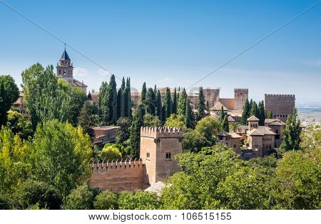 View Of Alhambra Palace In Granada  In Spain