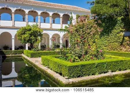 View Of Generalife Gardens In Alhambra In Granada  In Spain