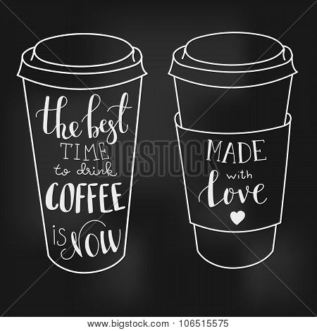 Lettering On Coffee Cup Shapes Set