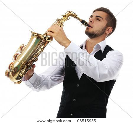 Happy saxophonist plays music on sax in elegant suit on white background