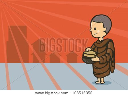 Monk Hold Bowl Food In Early Morning