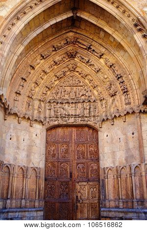 Cathedral of Leon carved door in Castilla at Spain