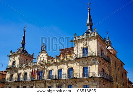 Leon city hall ayuntamiento in Plaza Mayor square by Saint James Way