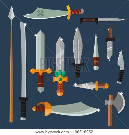 Knifes weapon collection. Vector illustration of swords, knifes, axe, spear. Edged weapons vector weapon set. Vector knife, knife isolated, knifes silhouette. Game weapon vector set