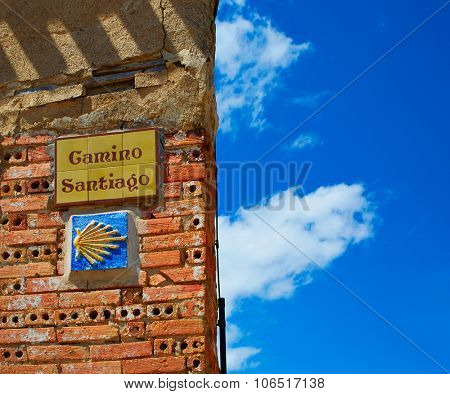 The Way of Saint James signs in Redecilla del Camino Castilla Burgos