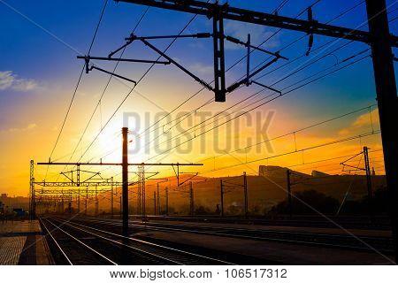 Santiago de Compostela sunrise at train railways end of Saint James Way
