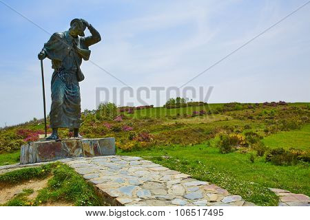 O Cebreiro Alto San roque top in the way of Saint James in Galicia Spain
