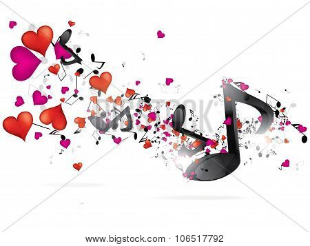 Abstract music bckground with notes. Abstract vector illustration with background.