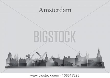 Amsterdam City Skyline Silhouette In Grayscale
