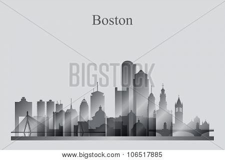 Boston City Skyline Silhouette In Grayscale