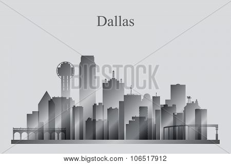 Dallas City Skyline Silhouette In Grayscale