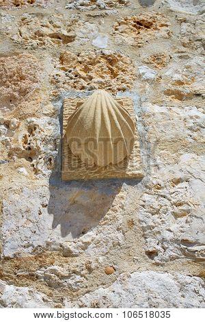 San Juan de Ortega shell sign by the Way of Saint James in Castilla Burgos