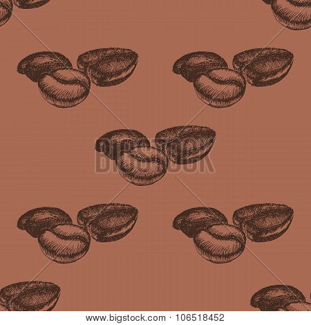 Seamless Pattern With Hand Drawn Coffee Beans