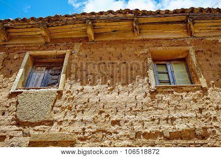 Castrojeriz adobe facades in the way of Saint James at Castilla Spain
