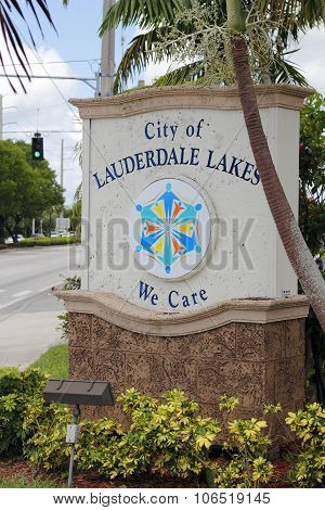 City Of Lauderdale Lakes We Care Sign