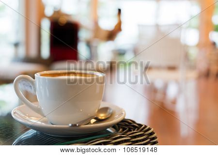 Coffee Cup On Table With Blur Interior Cafe Coffee Shop Background
