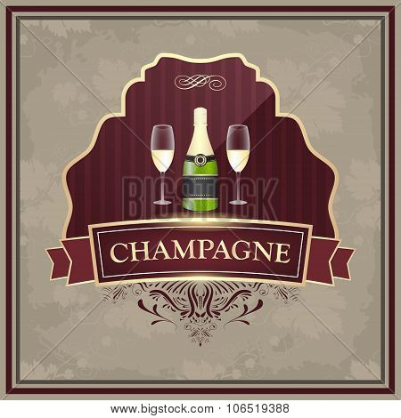 Champagne label with bottle and glasses on vintage paper.