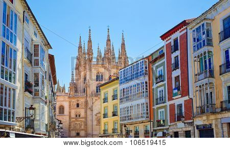Burgos downtown colorful facades and Cathedral in Castilla Leon of Spain
